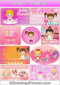 Stickers for baby in pink