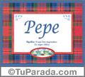 Nombre Tarjeta con imagen de Pepe para feliz cumpleaños