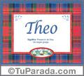 Nombre Tarjeta con imagen de Theo para feliz cumpleaños