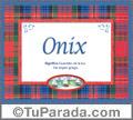Nombre Tarjeta con imagen de Onix para feliz cumpleaños