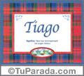 Nombre Tarjeta con imagen de Tiago para feliz cumpleaños