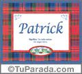 Nombre Tarjeta con imagen de Patrick para feliz cumpleaños