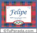 Nombre Tarjeta con imagen de Felipe para feliz cumpleaños