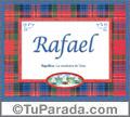 Nombre Tarjeta con imagen de Rafael para feliz cumpleaños