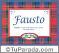 Nombre Tarjeta con imagen de Fausto para feliz cumpleaños