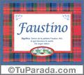 Nombre Tarjeta con imagen de Faustino para feliz cumpleaños