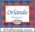 Nombre Tarjeta con imagen de Orlando para feliz cumpleaños