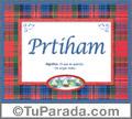 Nombre Tarjeta con imagen de Pritham para feliz cumpleaños