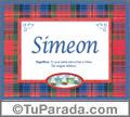 Nombre Tarjeta con imagen de Simeon para feliz cumpleaños