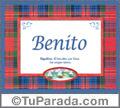 Nombre Tarjeta con imagen de Benito para feliz cumpleaños