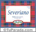 Nombre Tarjeta con imagen de Severiano para feliz cumpleaños