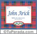 John Arick, nombre, significado y origen de nombres