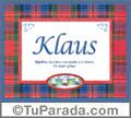 Nombre Tarjeta con imagen de Klaus para feliz cumpleaños