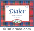 Nombre Tarjeta con imagen de Didier para feliz cumpleaños