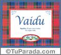 Nombre Tarjeta con imagen de Vaidu para feliz cumpleaños