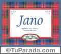 Nombre Tarjeta con imagen de Jano para feliz cumpleaños