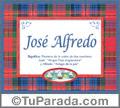 Nombre Tarjeta con imagen de José Alfredo para feliz cumpleaños