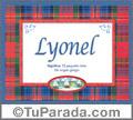 Nombre Tarjeta con imagen de Lyonel para feliz cumpleaños