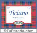 Nombre Tarjeta con imagen de Ticiano para feliz cumpleaños