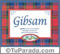 Nombre Tarjeta con imagen de Gibsam para feliz cumpleaños