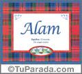 Nombre Tarjeta con imagen de Alam para feliz cumpleaños