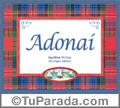 Nombre Tarjeta con imagen de Adonaí para feliz cumpleaños