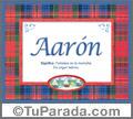 Nombre Tarjeta con imagen de Aarón para feliz cumpleaños