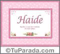 Nombre Tarjeta con imagen de Haide para feliz cumpleaños