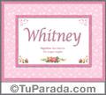 Nombre Tarjeta con imagen de Whitney para feliz cumpleaños