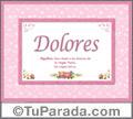 Dolores - Significado y origen