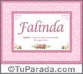 Nombre Tarjeta con imagen de Falinda para feliz cumpleaños