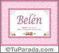 Nombre Tarjeta con imagen de Belén para feliz cumpleaños