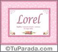 Lorel, nombre, significado y origen de nombres