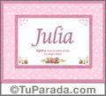 Julia, nombre, significado y origen de nombres