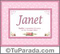 Significado y origen de Janet para imprimir
