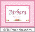 Significado y origen de Bárbara para imprimir