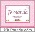 Significado y origen de Fernanda para imprimir