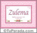 Significado y origen de Zulema para imprimir