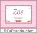 Nombre Tarjeta con imagen de Zoe para feliz cumpleaños