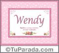 Significado y origen de Wendy para imprimir
