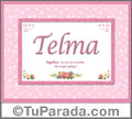 Telma, nombre, significado y origen de nombres