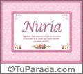Significado y origen de Nuria para imprimir