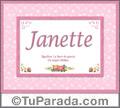 Janette, nombre, significado y origen de nombres