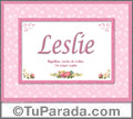 Leslie, nombre, significado y origen de nombres