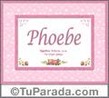 Phoebe, nombre, significado y origen de nombres