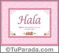 Hala, nombre, significado y origen de nombres