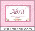 Nombre Tarjeta con imagen de Abril para feliz cumpleaños