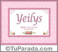 Nombre Tarjeta con imagen de Yeilys para feliz cumpleaños