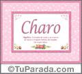 Charo, nombre, significado y origen de nombres