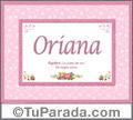 Nombre Tarjeta con imagen de Oriana para feliz cumpleaños